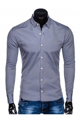 Рубашка мужская R441 - Синий/бежевый
