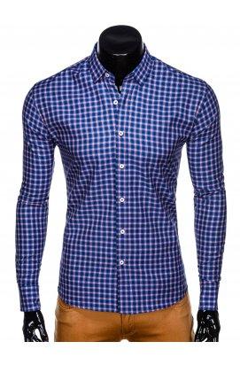 Рубашка мужская R438 - Синий/красный