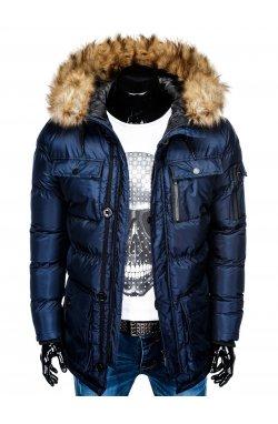 Куртка чоловіча зимова парка C355 - темно-синя