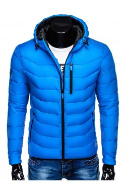 Men's winter quilted jacket C371 - blue