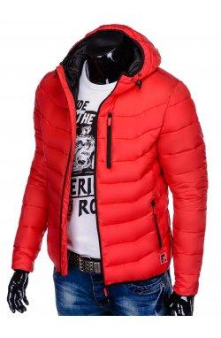 Men's autumn quilted jacket C371 - красный
