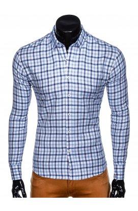Рубашка мужская R444 - Белый/голубой