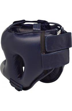 Боксерский шлем с бампером RDX Leather Pro Blue L