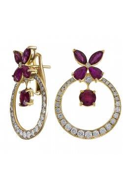 Серьги из желтого золота с бриллиантами и рубинами (1680829)