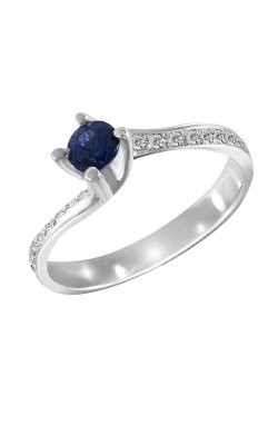 Кольцо из белого золота с бриллиантами и сапфиром