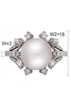 Кольцо из белого золота с бриллиантами и жемчугом (морским)