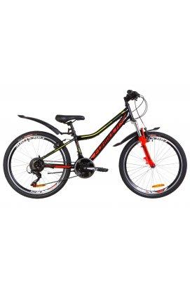 """Горный; Подростковый Велосипед 24"""" Formula FOREST AM 2019 (черно-красный с желтым"""