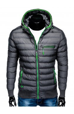 Men's winter quilted jacket C353 - grey