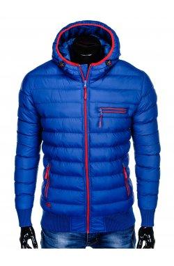 Men's autumn quilted jacket C353 - голубой