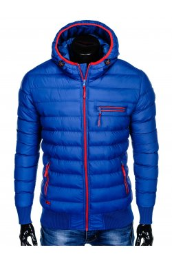 Men's winter quilted jacket C353 - blue