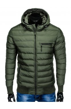 Men's winter quilted jacket C353 - khaki