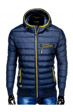 Men's winter quilted jacket C353 - navy