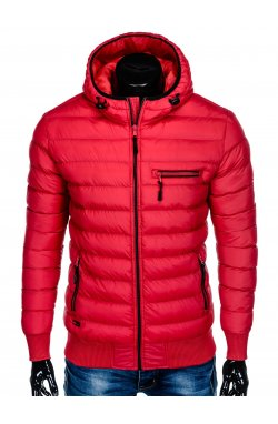 Men's winter quilted jacket C353 - red