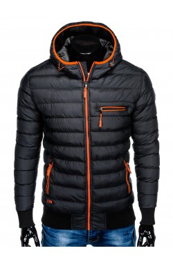 Men's winter quilted jacket C353 - black