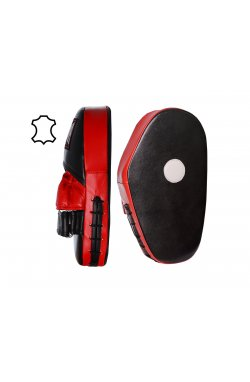 Лапы боксерские PowerPlay 3063 Чорно-Червоні Шкіра [пара]