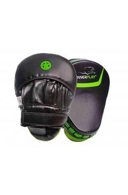 Лапы боксерские PowerPlay 3041 Чорно-Зелені PU [пара]