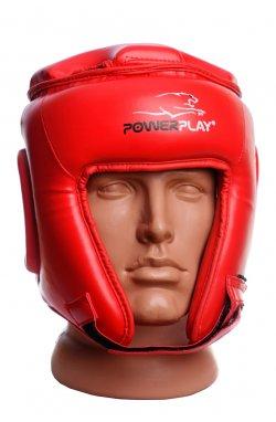 Шлем боксерский турнирный PowerPlay 3045 Червоний PU