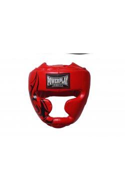 Шлем боксерский тренировочный PowerPlay 3043 Червоний PU