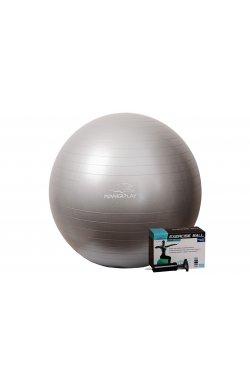 Мяч для фитнеса PowerPlay 4001 75см Срібний + насос