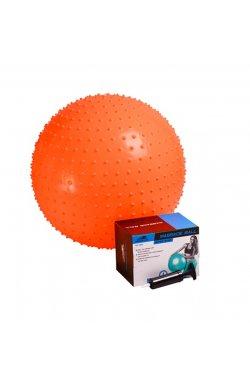 Мяч-массажер для фитнеса PowerPlay 4002 55см Оранжевий + насос