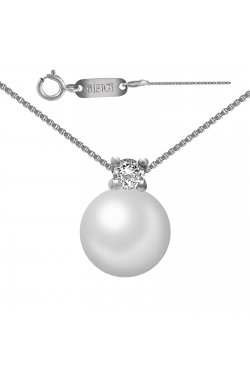Колье из белого золота с бриллиантом и жемчугом (морским)