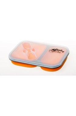 Контейнер силиконовый на 2 отсека Tramp (900ml) с ловилкой orange