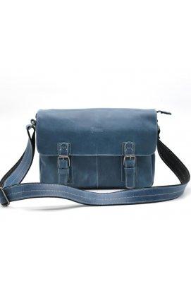 Мессенджер из кожи крейзи хорс, наплечная сумка TARWA, RK-6002-3md Blue-синий