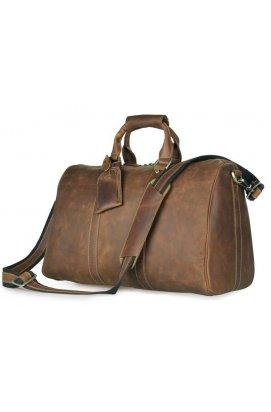Дорожня шкіряна сумка John McDee 7077B Коричневий