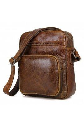 Кожаная мужская сумка через плечо, цвет коричневый John McDee JD1008B
