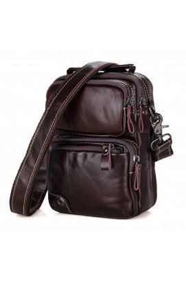 Мужская кожаная сумка на плечо, коричневая John McDee 1010С Коричневый