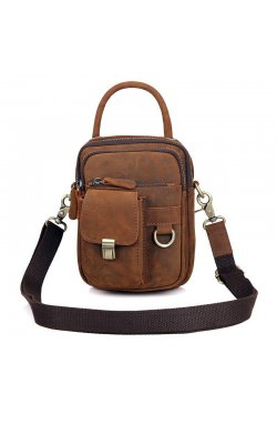 Винтажная сумка на пояс из лошадиной кожи John McDee 1003B