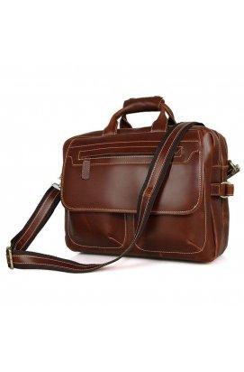 Статусная глянцевая мужская кожаная сумка 7085X