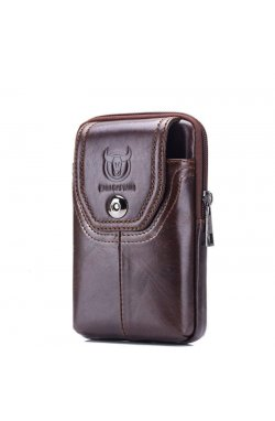Напоясная сумка-чехол для смартфона T1398 Bull из натуральной кожи