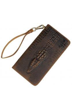 Мужской клатч Vintage 14366 кожа под крокодила Коричневый, Коричневый