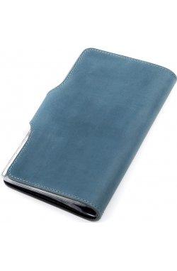 Визитница большая Shvigel 13906 кожаная Синяя, Синий