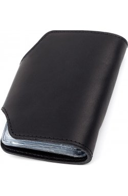 Визитница вертикальная Shvigel 13909 кожаная Черная, Черный