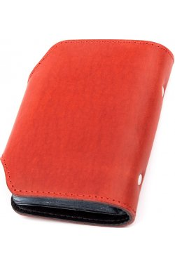 Визитница вертикальная Shvigel 13910 кожаная Красная, Красный