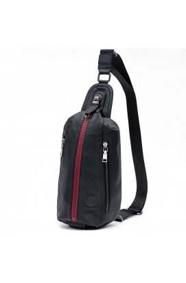 Одношлеечный рюкзак Bull из натуральной кожи T1375 (Черный с красной молни