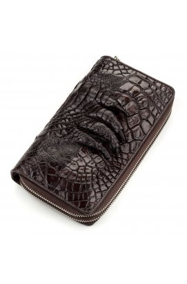 Кошелек-клатч CROCODILE LEATHER 18173 из натуральной кожи крокодила Коричневый, Коричневый