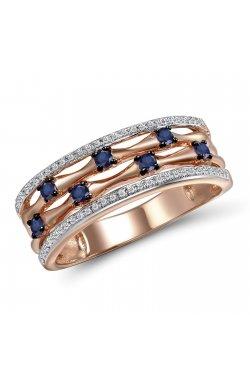 Кольцо из красного золота с бриллиантами и сапфирами