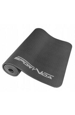 Коврик (мат) для йоги и фитнеса текстурированный SportVida NBR 1 см SV-HK0070 Grey