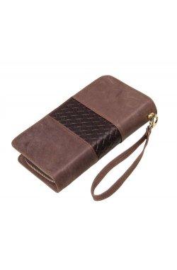Мужской кожаный клатч 8070R серо-коричневый John McDee