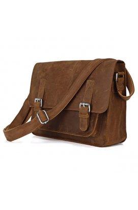 Кожаная сумка крос-боди мессенджер с лошадиной кожи 7089B