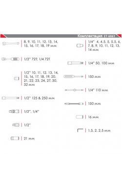 """Профессиональный набор инструментов 1/4"""" & 1/2"""" 61 ед INTERTOOL ET-6061"""