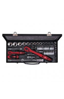 """Профессиональный набор инструмента 1/2"""" & 1/4"""", 56 ед (гол. 4-32 мм, биты 18 ед.)"""
