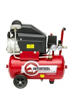 Компрессор 24 л, 2 HP, 1,5 кВт, 220 В, 8 атм, 206 л/мин INTERTOOL PT-0010