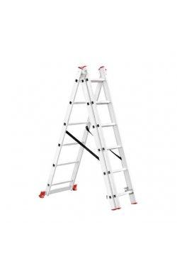 Лестница алюминиевая 3-х секционная универсальная раскладная 3x6 ступ.