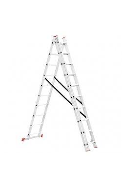 Лестница алюминиевая 3-х секционная универсальная раскладная 3x10 ступ.