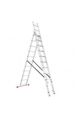 Лестница алюминиевая 3-х секционная универсальная раскладная 3x11 ступ.