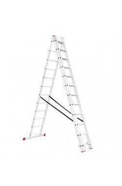 Лестница алюминиевая 3-х секционная универсальная раскладная 3x12 ступ.